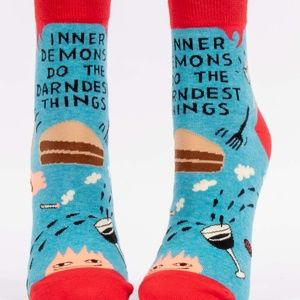 NWT Socks Inner Demons Do Darndest Things Blue Q